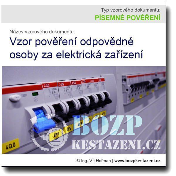 Vzor pověření odpovědné osoby za elektrická zařízení