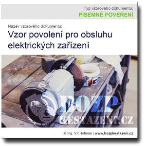 Vzor povolení pro obsluhu elektrických zařízení