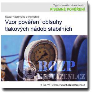 Vzor pověření obsluhy tlakových nádob stabilních