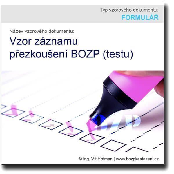 Vzor záznamu přezkoušení BOZP (testu)