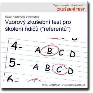 Vzor zkušebního testu pro školení řidičů