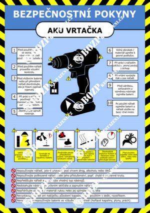 Bezpečnostní pokyny - AKU vrtačka