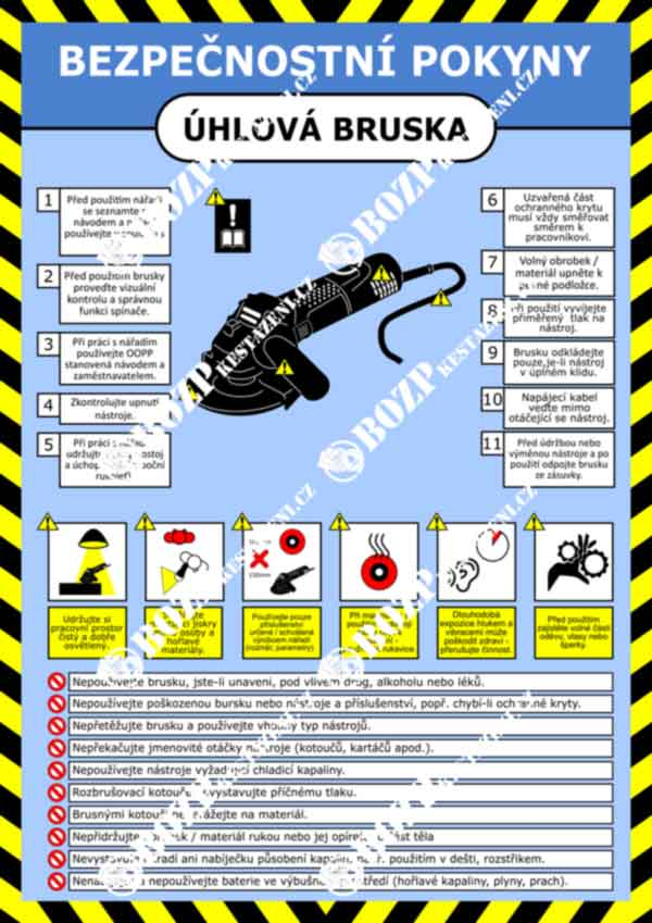 Bezpečnostní pokyny - ruční úhlová bruska