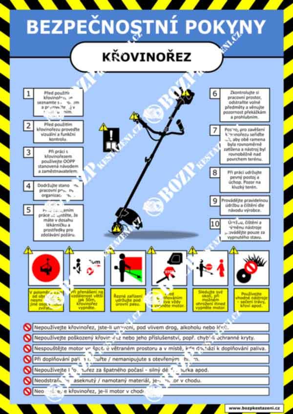 Bezpečnostní pokyny - Křovinořez