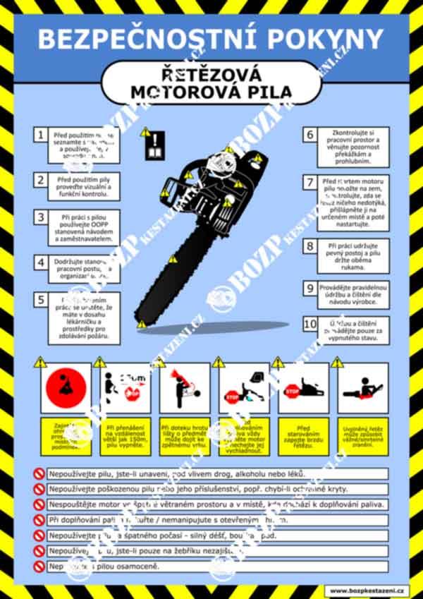 Bezpečnostní pokyny - Řetězová motorová pila