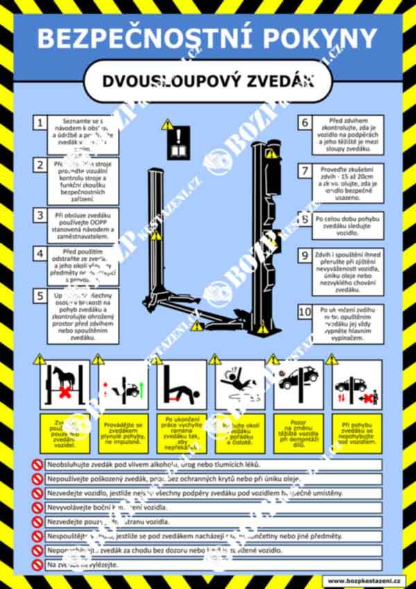Bezpečnostní pokyny - Dvousloupový dílenský zvedák
