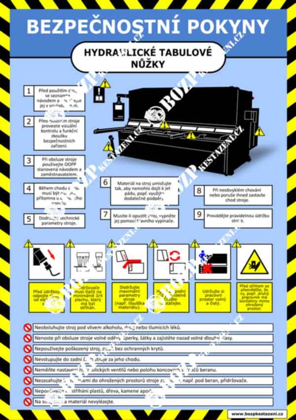 Bezpečnostní pokyny - Hydraulické tabulové nůžky