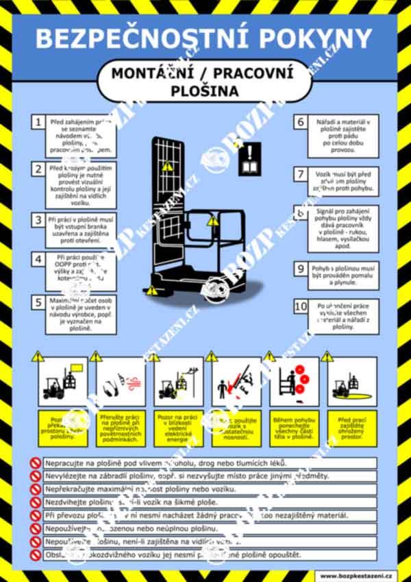 Bezpečnostní pokyny - Plošina pro VZV