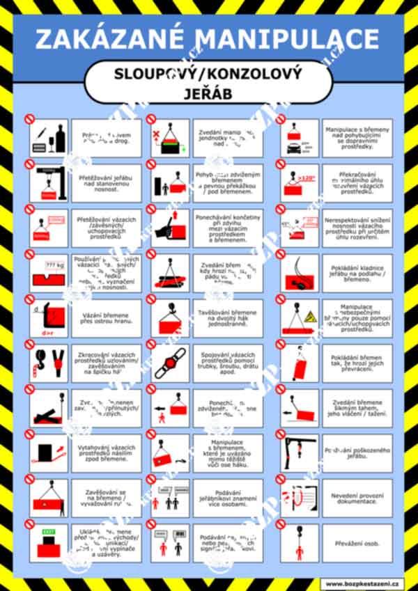 Bezpečnostní pokyny - Sloupovy konzolový jeřáb - zakázané manipulace